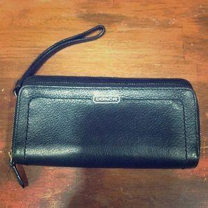 Large black coach wallet/wristlet